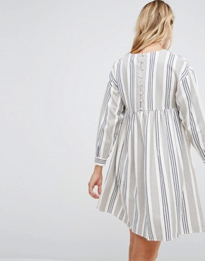 photo Smock Dress in Natural Stripe by ASOS Maternity, color Grey/White - Image 2
