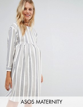 photo Smock Dress in Natural Stripe by ASOS Maternity, color Grey/White - Image 1