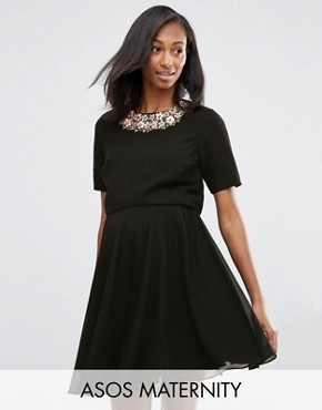photo Embellished Floral Cropped Top Dress by ASOS Maternity, color Black - Image 1