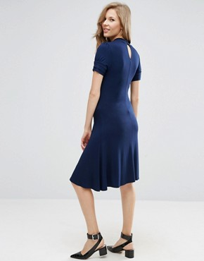 photo Skater Dress with Twist Neck by ASOS Maternity, color Navy - Image 2