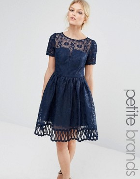 photo Lace Dress Cutwork Detail and Cap Sleeve by Chi Chi London Petite Premium, color Navy - Image 1