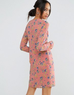 photo Mini Dress with Ruched Side in Floral Print by ASOS TALL, color Pink Print - Image 2