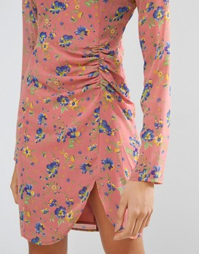 photo Mini Dress with Ruched Side in Floral Print by ASOS TALL, color Pink Print - Image 3
