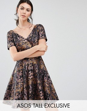 photo Jacquard Prom Dress in Abstract Animal Print by ASOS TALL, color  - Image 1
