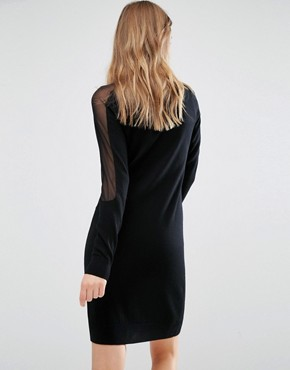 photo Knitted Sheer Panel Dress by Gestuz, color Black - Image 2