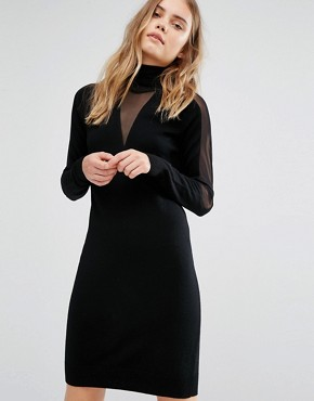 photo Knitted Sheer Panel Dress by Gestuz, color Black - Image 1