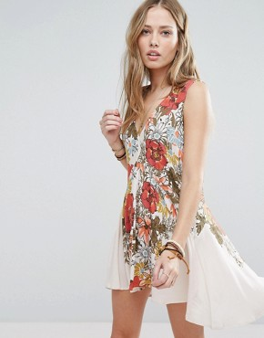 photo Printed Tunic Dress by Free People, color Ivory - Image 1