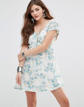 photo Yours Truly Printed Dress by Free People, color Ivory - Image 1