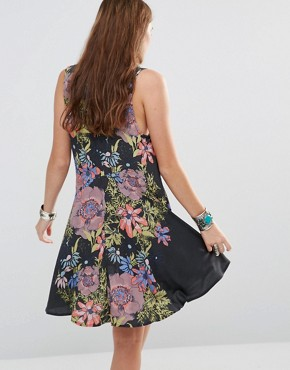 photo Printed Tunic Dress by Free People, color Black - Image 2