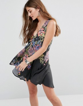 photo Printed Tunic Dress by Free People, color Black - Image 1