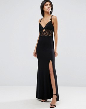 photo Lingerie Lace Top Maxi Dress by ASOS, color Black - Image 1