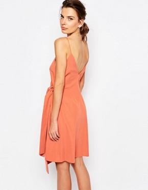 photo On The Line Wrap Dress with Ring Detail by C/meo Collective, color Burnt Sienna - Image 2