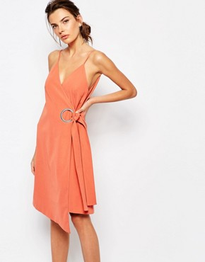 photo On The Line Wrap Dress with Ring Detail by C/meo Collective, color Burnt Sienna - Image 1