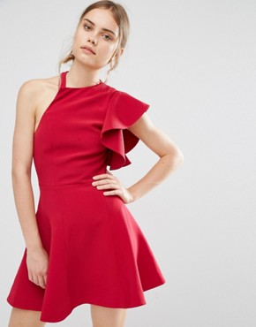 photo Heart Commands Dress by C/meo Collective, color Raspberry - Image 1