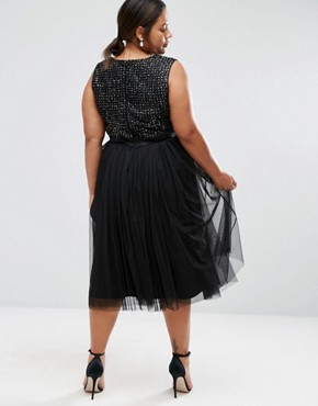 photo Embellished Tulle Skirt Midi Dress by Lovedrobe Luxe, color Black - Image 2
