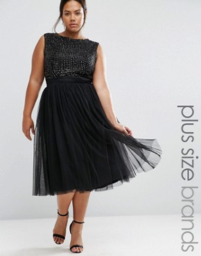 photo Embellished Tulle Skirt Midi Dress by Lovedrobe Luxe, color Black - Image 1