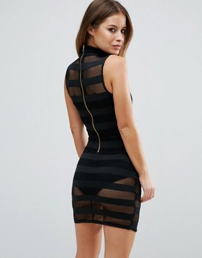 photo High Neck Mesh Stripe Bodycon Mini Dress With Knicker by ASOS PETITE, color Black - Image 2