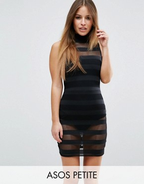 photo High Neck Mesh Stripe Bodycon Mini Dress With Knicker by ASOS PETITE, color Black - Image 1