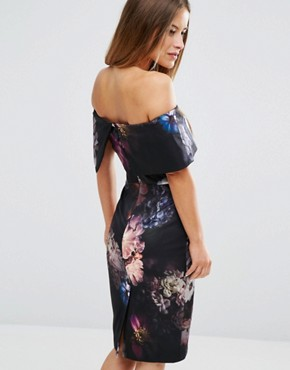 photo Dark Floral Bardot Pencil Dress by ASOS PETITE, color  - Image 2