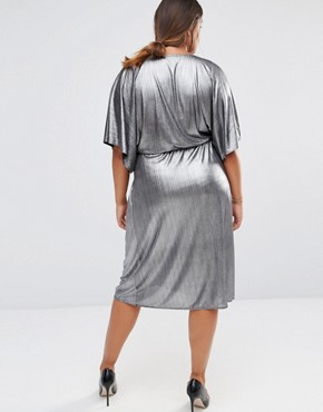 photo Wrap Front Dress by Lovedrobe, color Silver - Image 2