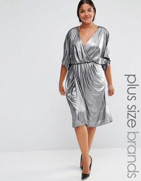 photo Wrap Front Dress by Lovedrobe, color Silver - Image 1