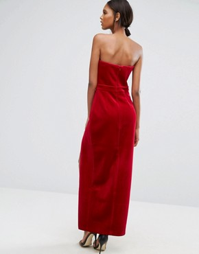 photo Black Bonded Velvet Sweetheart Bandeau Maxi Dress with Thigh Split by TTYA, color Red - Image 2