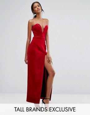 photo Black Bonded Velvet Sweetheart Bandeau Maxi Dress with Thigh Split by TTYA, color Red - Image 1