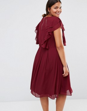photo Ruffle Dress by Lovedrobe, color Burgundy - Image 2