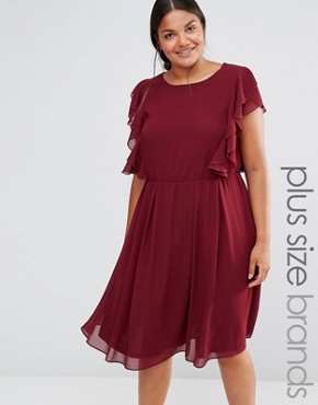 photo Ruffle Dress by Lovedrobe, color Burgundy - Image 1
