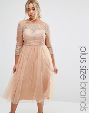 photo Premium Embroidered Prom Dress with Tulle Skirt by Chi Chi London Plus, color Tan - Image 1