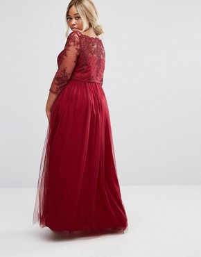 photo Premium Lace Bodice Maxi Dress with Tulle Skirt by Chi Chi London Plus, color Red - Image 2