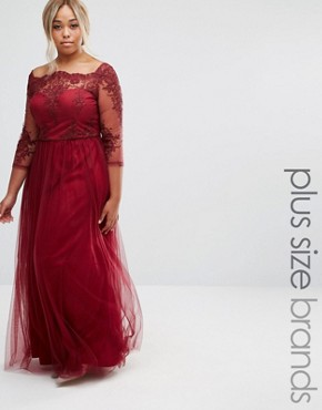 photo Premium Lace Bodice Maxi Dress with Tulle Skirt by Chi Chi London Plus, color Red - Image 1
