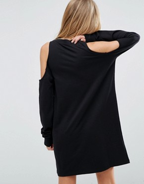 photo Sweat Dress With Cold Shoulder by ASOS, color Black - Image 2