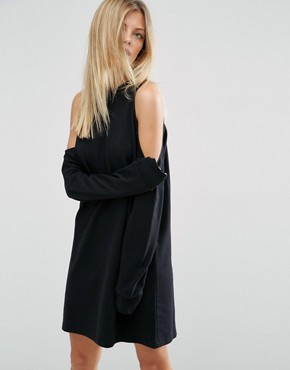 photo Sweat Dress With Cold Shoulder by ASOS, color Black - Image 1