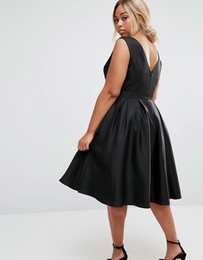 photo Plunge Front Prom Dress by Chi Chi London Plus, color Black - Image 2