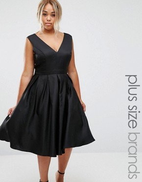 photo Plunge Front Prom Dress by Chi Chi London Plus, color Black - Image 1