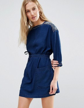 photo Embroidered Denim Mini Dress by MiH Jeans, color Indigo - Image 1