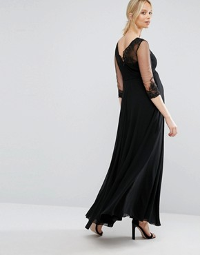 photo Floral Applique Maxi Dress with Sleeves by Chi Chi London Maternity, color Black - Image 2