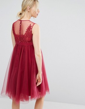 photo Embroidered Prom Dress with Button Detail and Tulle Skirt by Chi Chi London Maternity, color Pink - Image 2