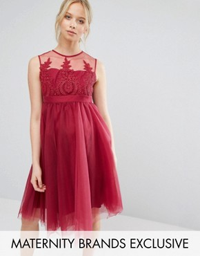 photo Embroidered Prom Dress with Button Detail and Tulle Skirt by Chi Chi London Maternity, color Pink - Image 1