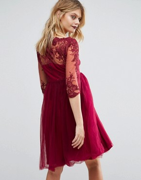 photo Lace Embroidered Prom Dress with Tulle Skirt by Chi Chi London Maternity Premium, color Red - Image 2