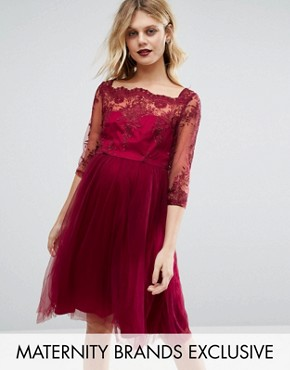 photo Lace Embroidered Prom Dress with Tulle Skirt by Chi Chi London Maternity Premium, color Red - Image 1