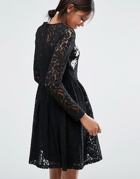 photo All Over Lace Mini Dress with Floral Embroidery by ASOS TALL, color Black - Image 2