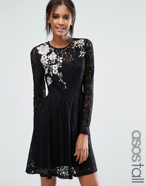 photo All Over Lace Mini Dress with Floral Embroidery by ASOS TALL, color Black - Image 1