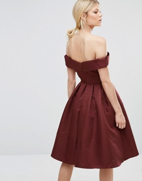 photo Off Shoulder Full Prom Midi Dress by Chi Chi London Petite, color Chocolate - Image 2