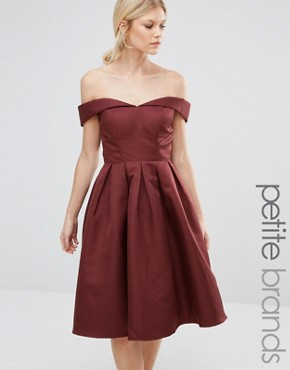 photo Off Shoulder Full Prom Midi Dress by Chi Chi London Petite, color Chocolate - Image 1