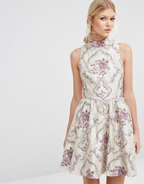 photo All Over Jacquard Mini Prom Dress with High Neck by Chi Chi London Petite, color  - Image 2