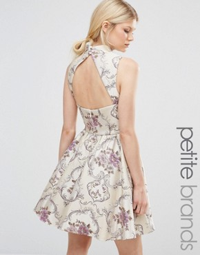 photo All Over Jacquard Mini Prom Dress with High Neck by Chi Chi London Petite, color  - Image 1