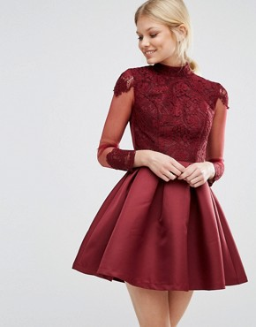 photo High Neck Sateen Mini Dress with Open Back by Chi Chi London Petite, color Wine - Image 2