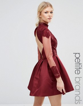 photo High Neck Sateen Mini Dress with Open Back by Chi Chi London Petite, color Wine - Image 1